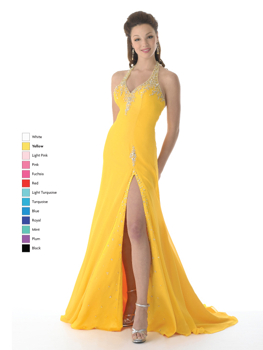 Yellow A Line Halter And V Neck Sweep Train Floor Length Chiffon Prom Dresses With Beading And High Slit