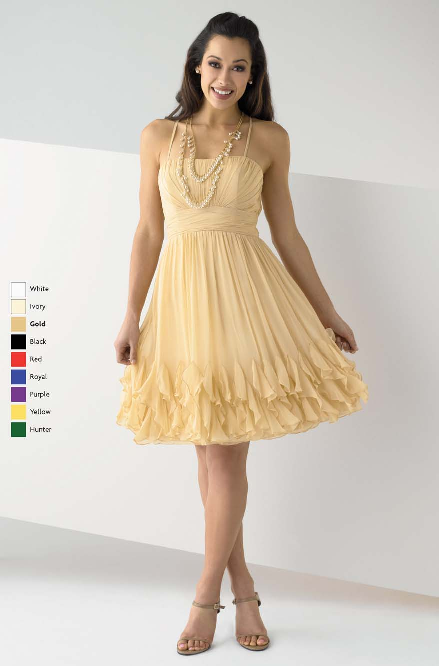 Gold A Line Spaghetti Straps Cross Back Knee Length Pleated Prom Dresses
