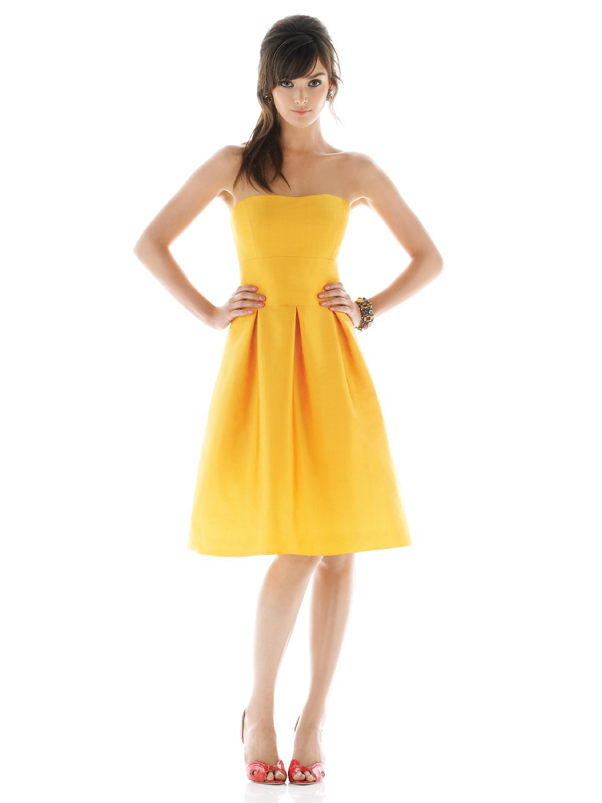 Yellow A Line Strapless Knee Length Satin Prom Dresses With Draped Skirt