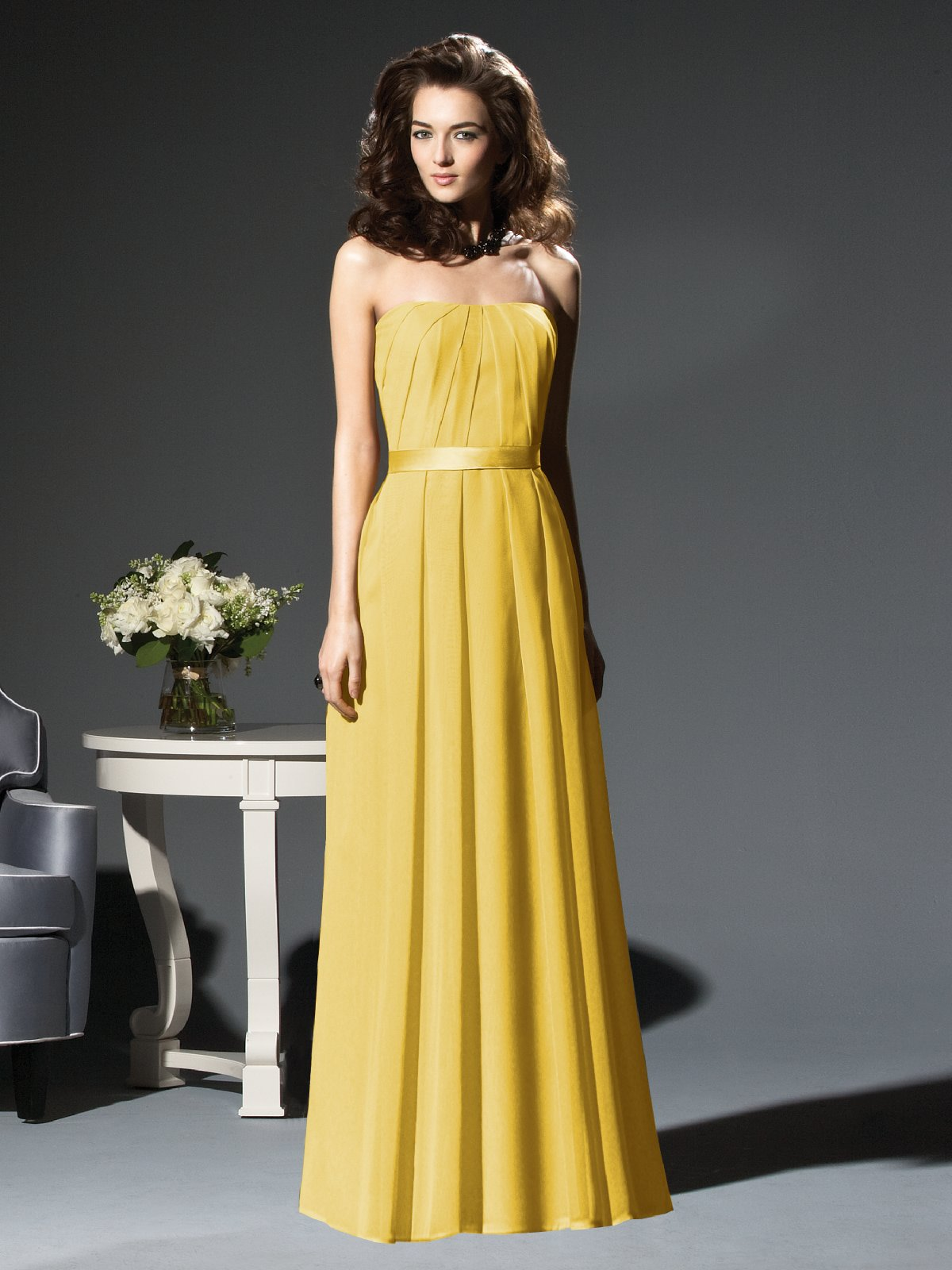 Yellow A Line Strapless Zipper Floor Length Pleated Chiffon Prom Dresses With Belt