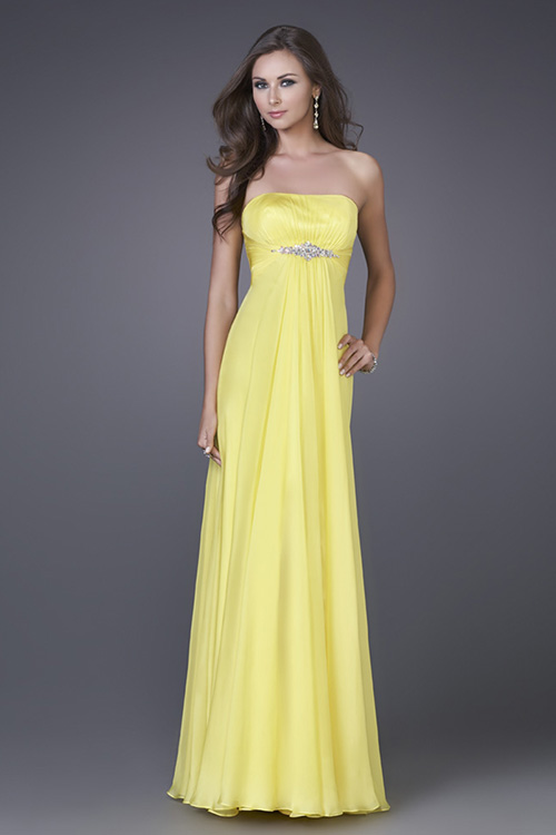 Yellow A Line Strapless Zipper Pleated Floor Length Evening Dresses With Beading
