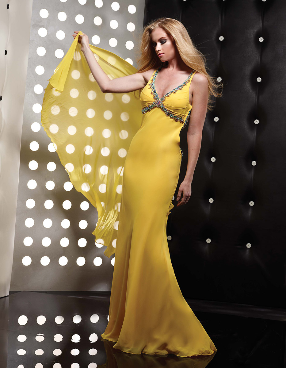 Yellow Trumpet Mermaid V Neck Open Back Floor Length Sweep Train Chiffon Evening Dresses With Jewel