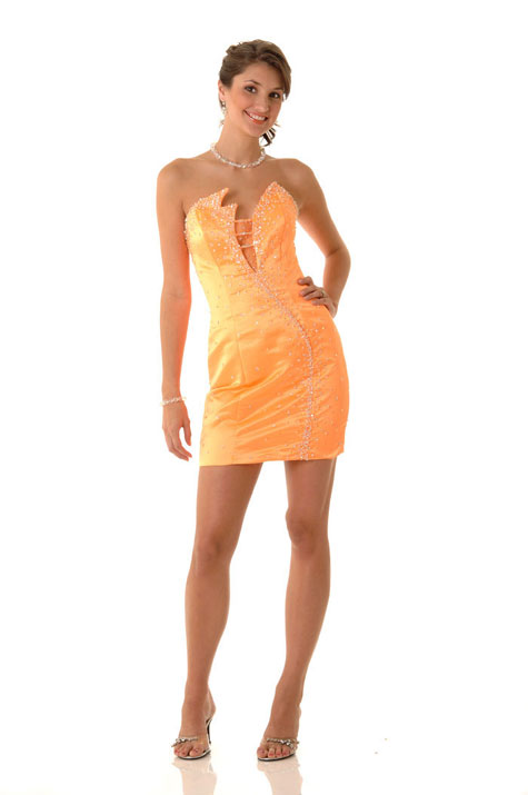 Apricot Asymmetrical Strapless Mini Length Column Satin Prom Dresses With Beads