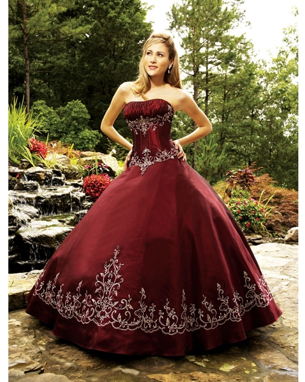 51bd44f61a Ball Gown Strapless Floor Length Burgundy Quinceanera Dresses With White  Embroidery