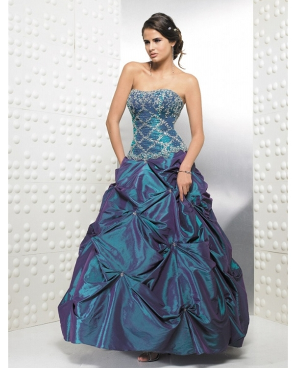 Dark Slate Blue Full Length Ball Gown Strapless Quinceanera Dress
