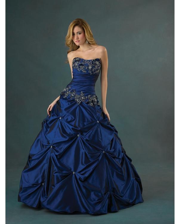 Dark Blue Ball Gown Strapless Draped Floor Length