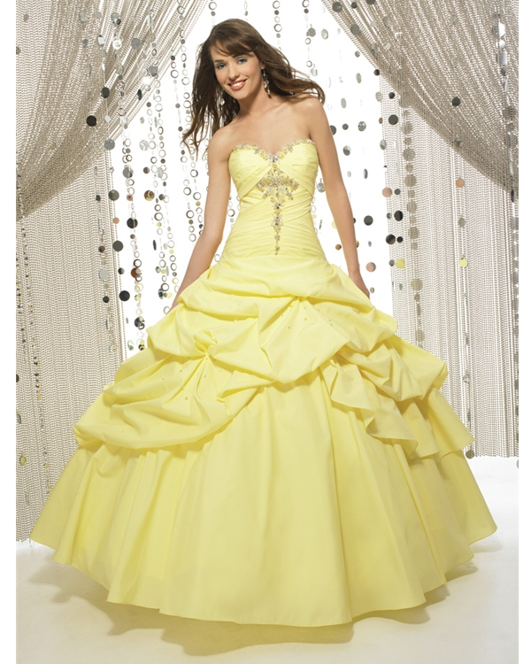 f6383d40ee6b Daffodil Strapless Sweetheart Ball Gown Floor Length Quinceanera Dresses  With Beads