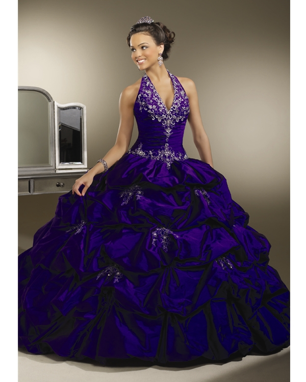 6d11763afb3 Prosperous Violet Halter Ball Gown Floor Length Taffeta Quinceanera Dresses  With White Embroidery