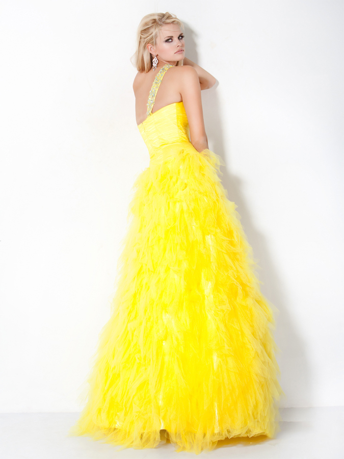 Yellow One Shoulder Floor Length A Line Prom Dress With