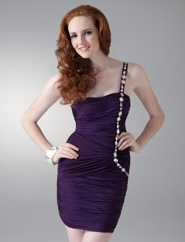 One Shoulder Pleated Purple Chiffon Cocktail Dresses With Beadings