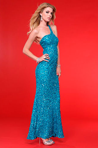 Glamorous Peacock One Shoulder Ankle Length Sequined Sheath Prom Dresses