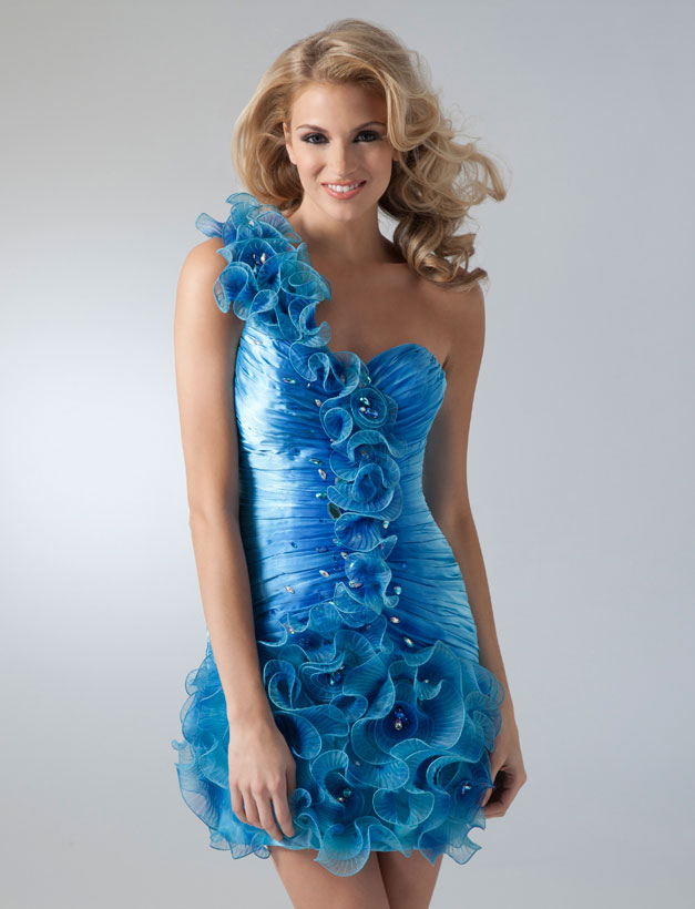 One Shoulder Sweetheart Knee Length Ruffled Organza Homecoming Dresses