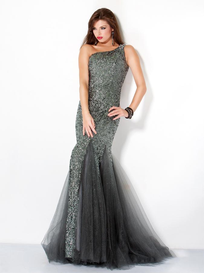 60f800af88442 Dark Grey One Shoulder Floor Length Mermaid Sequined Tulle Prom Dresses