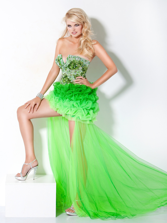 53bc2cc1 Gradient Lime Strapless Sweep Train High Low Length Beaded And Ruffled Sexy Prom  Dresses