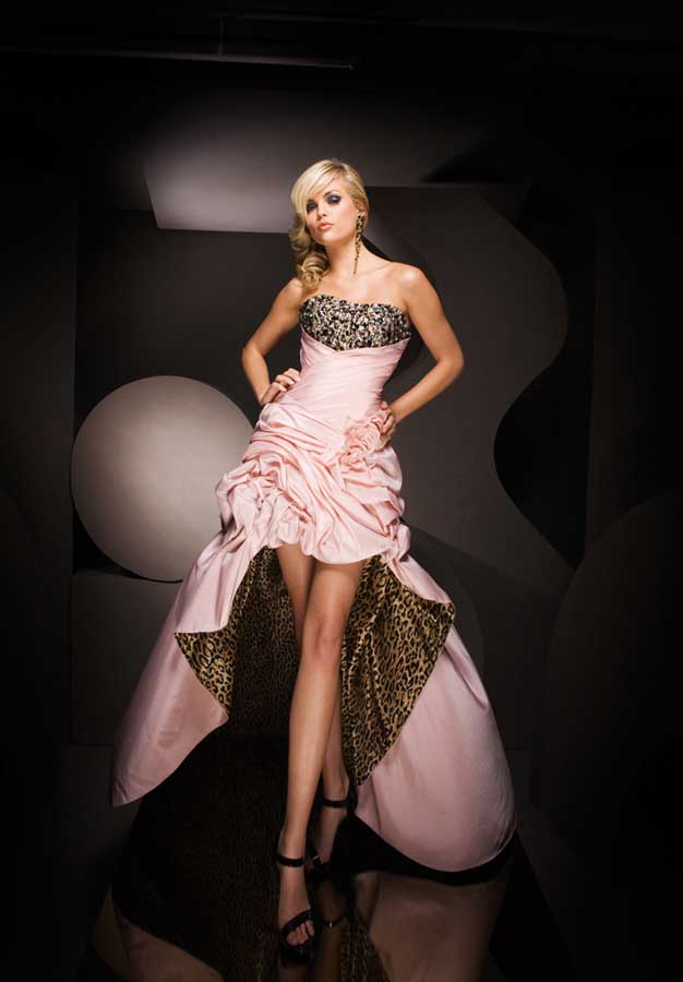 Strapless High Low Length Pink Satin Evening Dresses With Ruffles