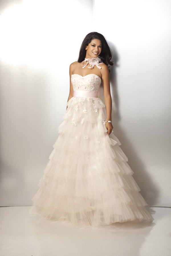 f20eb7885cf Pale Pink Strapless Sweetheart A Line Floor Length Tiered Tulle Prom Dresses  With Lace