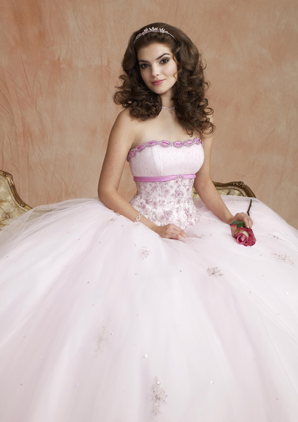 Floor Length Strapless Satin Tulle Ball Gown With Beading Embroidery
