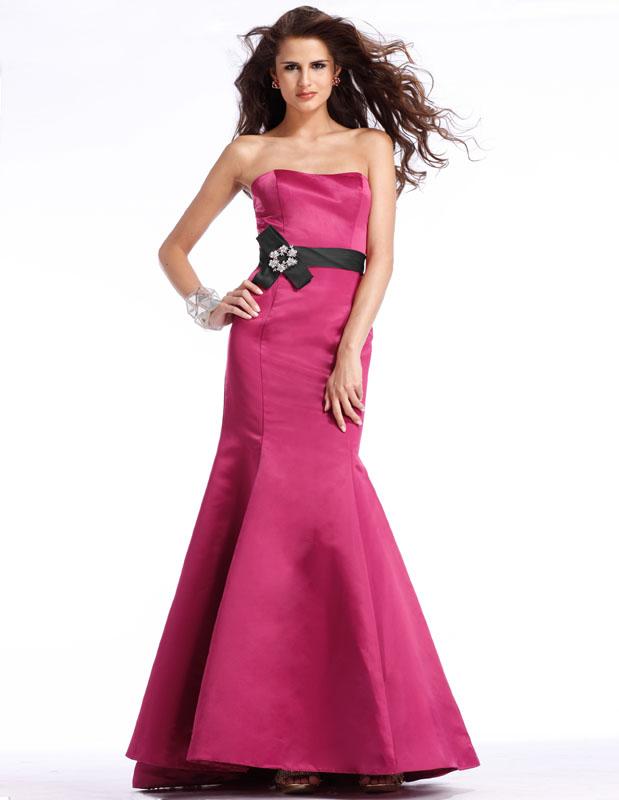 fcbf4fb49ed03 Dignity Strapless Trumpet Floor Length Fuchsia Prom Dresses With Black Sash