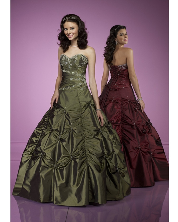 a62204e52a6f Hunter Green Strapless Ball Gown Floor Length Tulle Quinceanera Dresses  With Embroidery