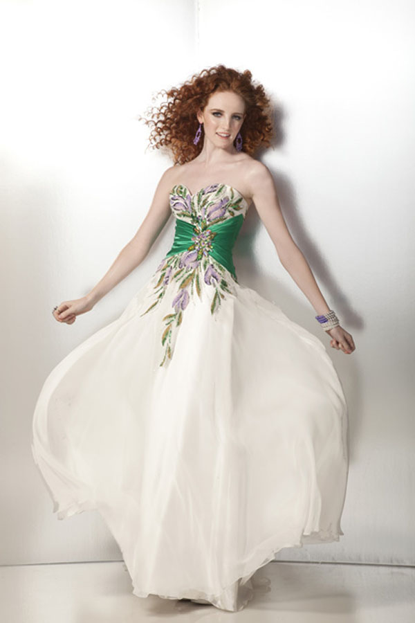 01427481bfba White Strapless Sweetheart Floor Length Chiffon Prom Dresses With Floral  Printing And Green Sash