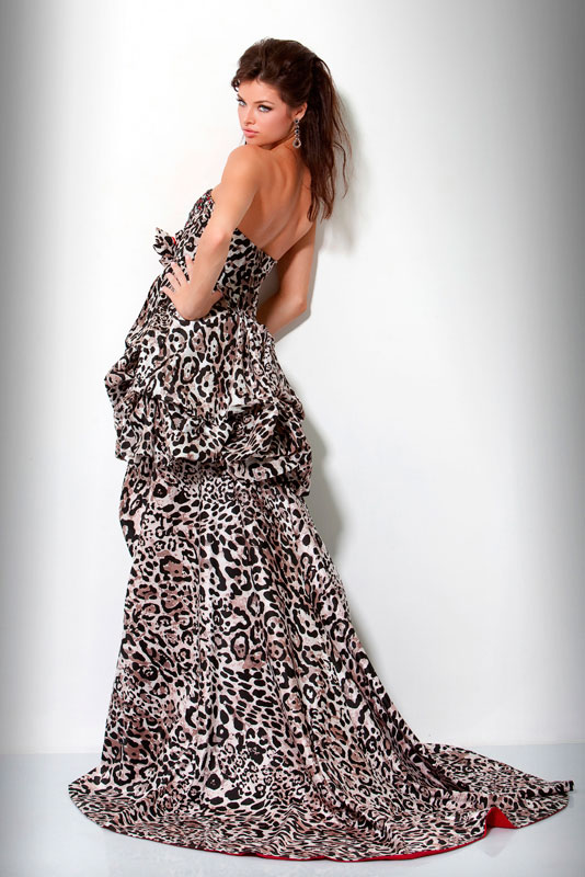 Leopard Print Strapless Sweetheart Hi Low A Line Prom Dresses With Red  Inside 811b80674