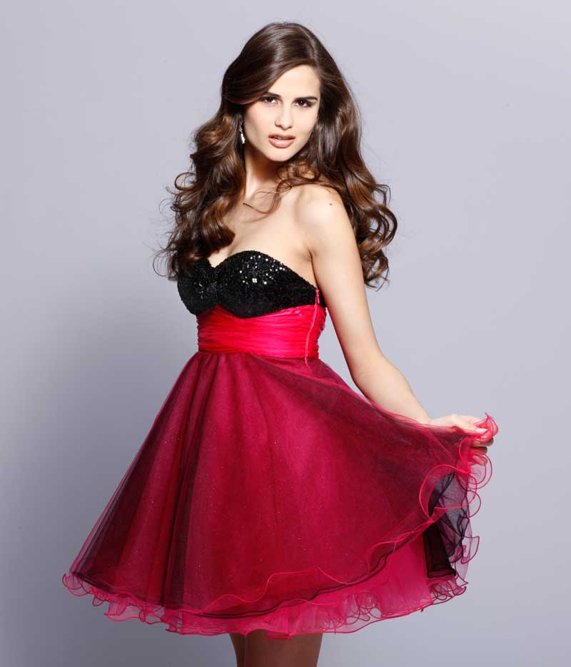 23057c5e150b Black And Red Strapless Sweetheart Empire Knee Length A Line Prom Dresses