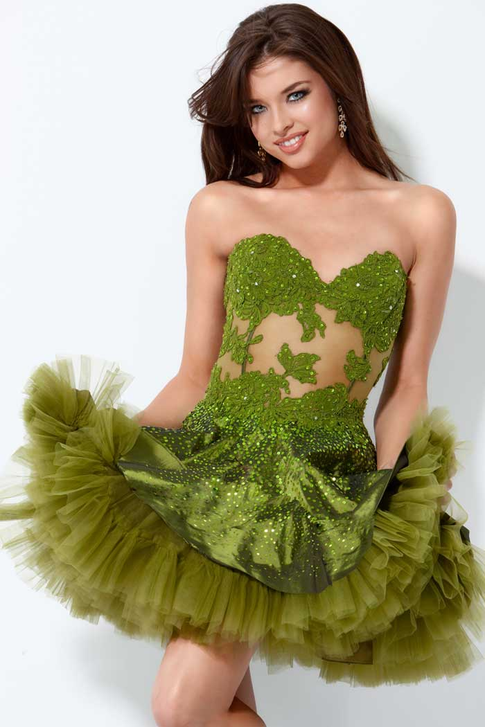 Green Strapless Sweetheart Short Mini A Line Tulle Prom Dresses With Lace