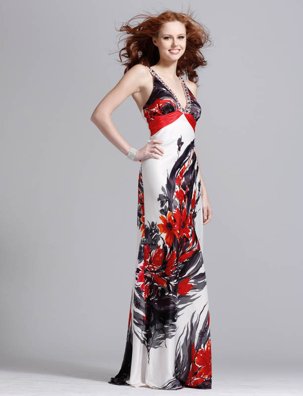 Ink Printing V Neck Open Back Sheath Floor Length Prom Dresses With Crystals