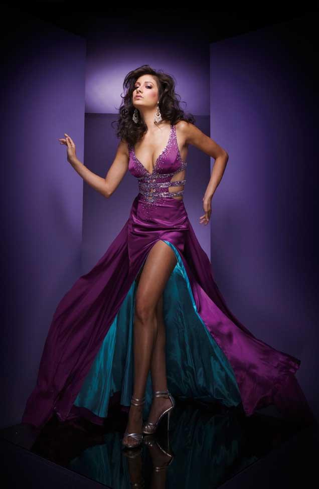 Purple Deep V Neck Sexy Floor Length A Line Prom Dress