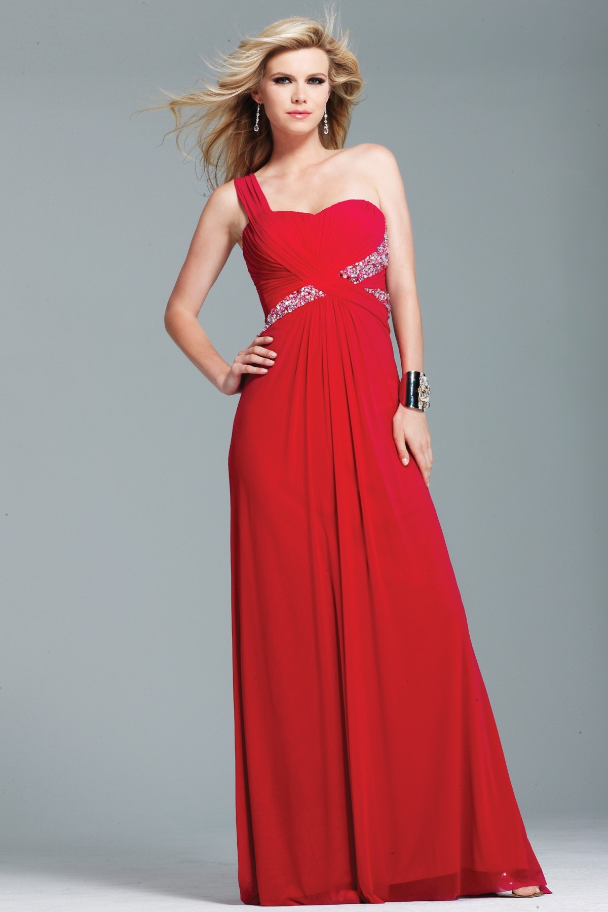Demure Red One Shoulder Sweep Train A Line Floor Length Sexy Dresses With Sequins