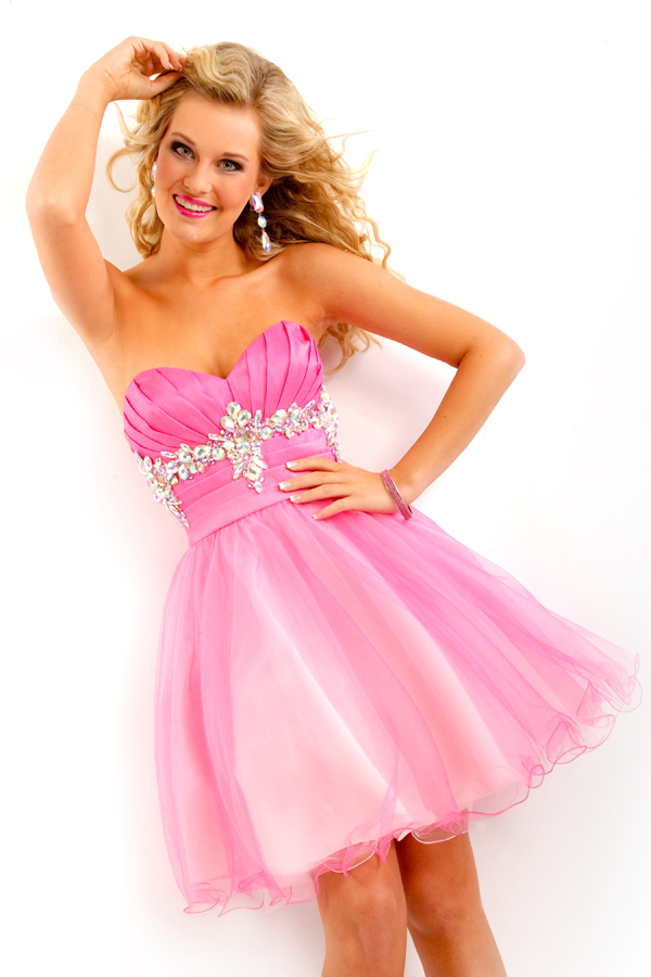 Ombre Pink Strapless Sweetheart Knee Length Empire Tulle