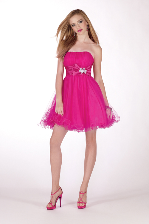 Fuchsia Strapless Empire Low Back Mini A Line Tulle Sexy Dresses With Sash