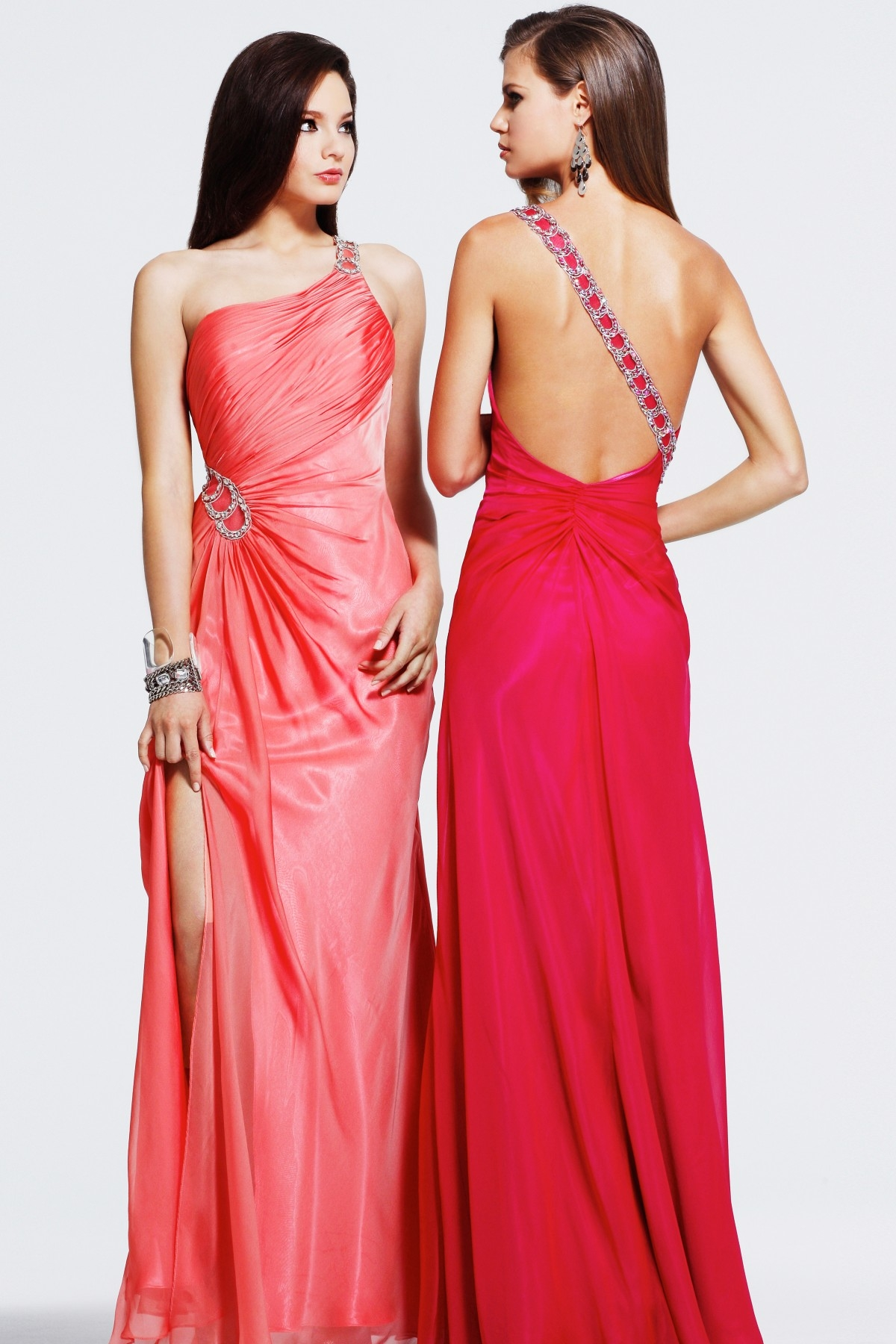 Floor Length One Shoulder High Slit Open Back Red Column Sexy Dresses With Sequins