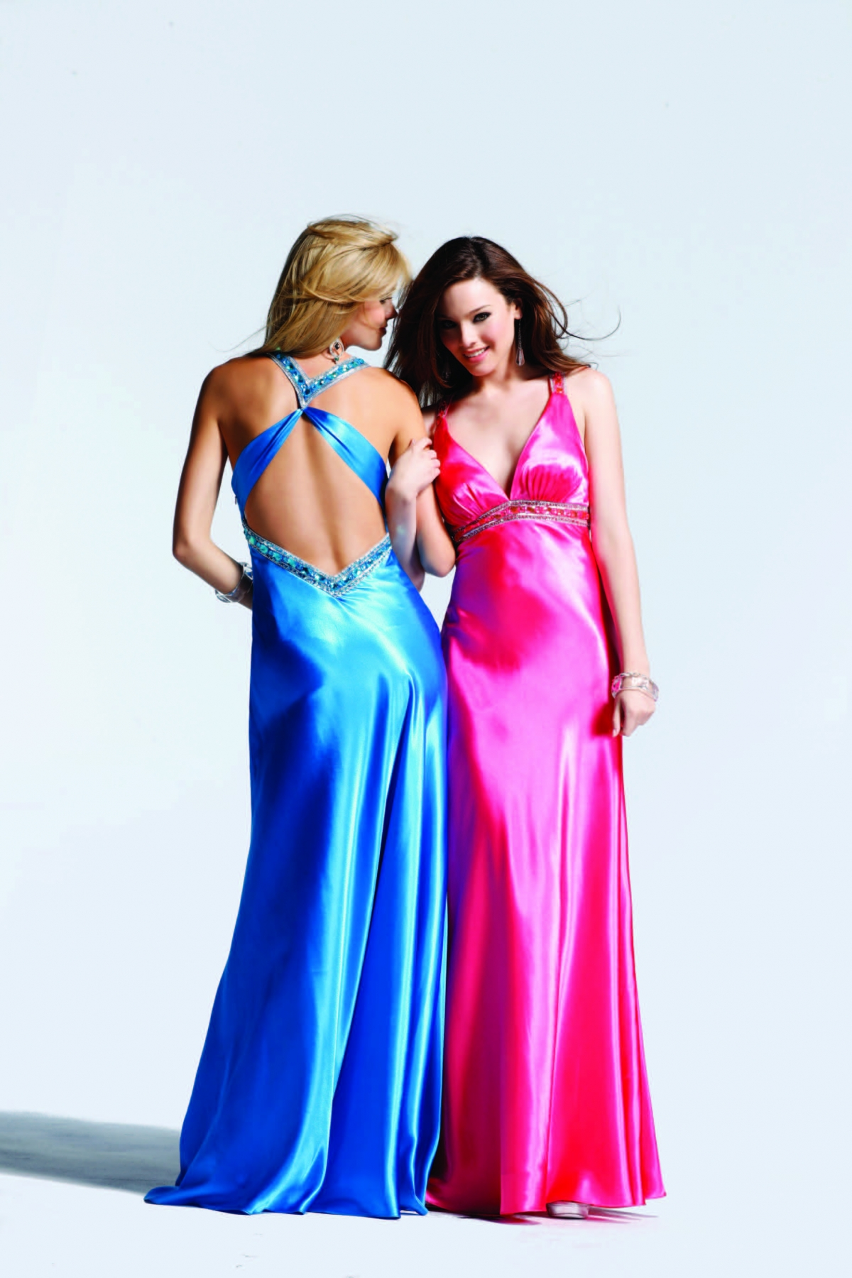 Hot Pink Blue Purple V Neck Cross Back Floor Length Column Sexy Dresses With Sequins