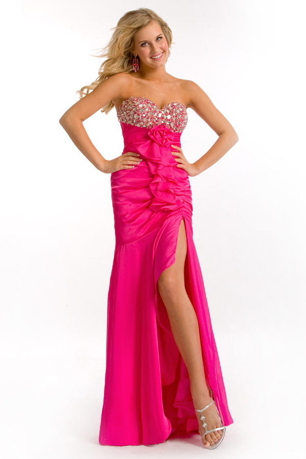 Fuchsia Empire Sweetheart Strapless High Slit Floor Length Sexy Dresses With Jewels And Ruches
