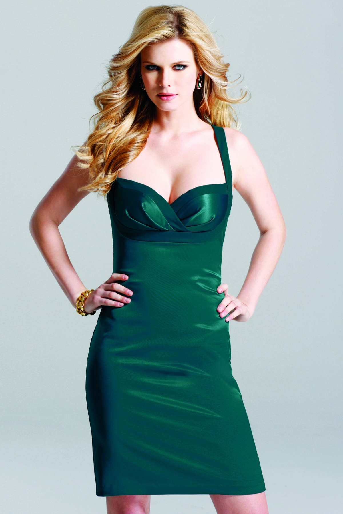Dark Green Column Strap And Sweetheart Cross Back Knee Length Sexy Dresses