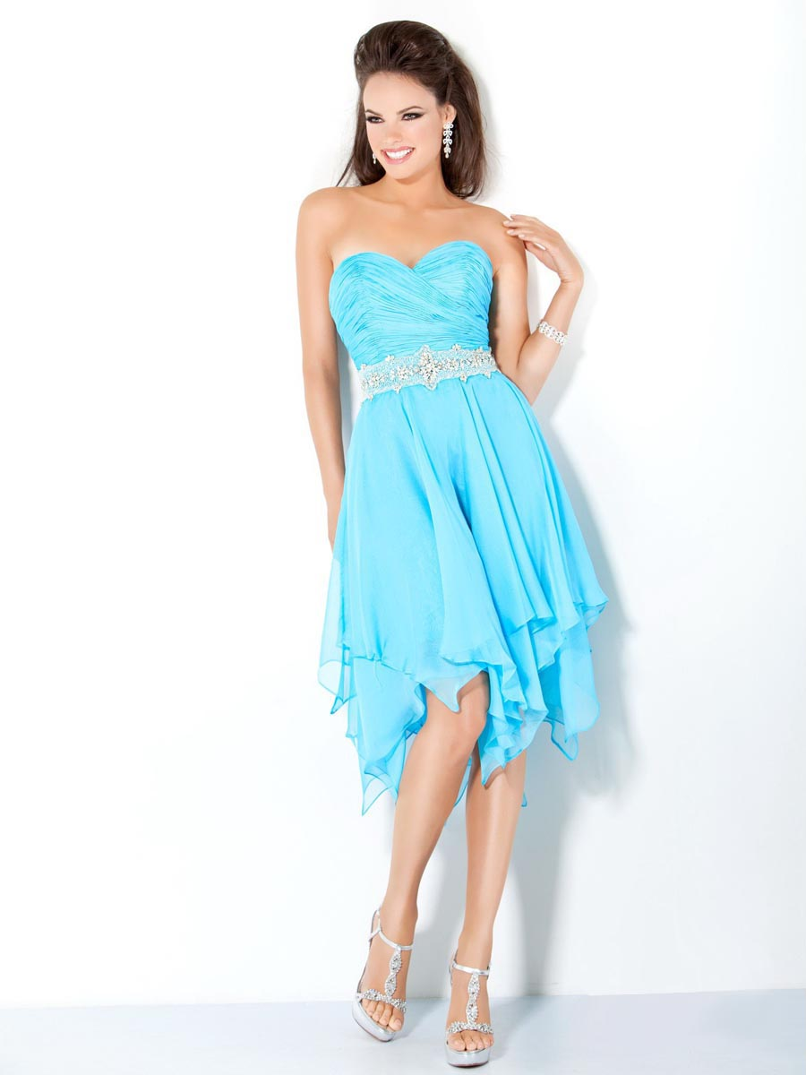 Aqua Strapless Sweetheart Zipper Knee Length A Line Celebrity Dresses With Beading Belt And Ruffles
