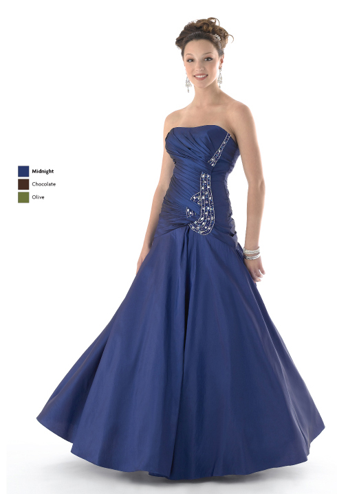 Midnight A Line Strapless Lace Up Full Length Satin Prom Dresses With Jewel And Drapes