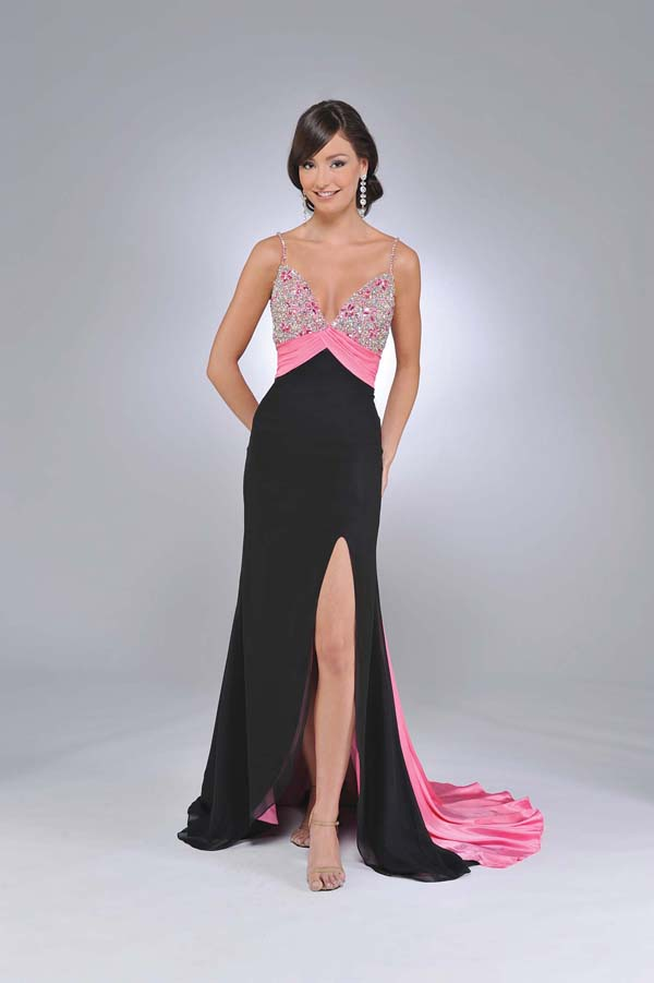 Black And Pink Empire Sheath Spaghetti Straps And V Neck Backless High Slit Sweep Train Full Length Sequin Prom Dresses