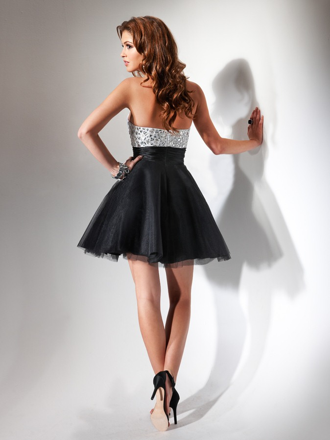 de4abd764b4d Black And Silver A Line Strapless Sweetheart Empire Low Back Short Mini Homecoming  Dresses With Beading