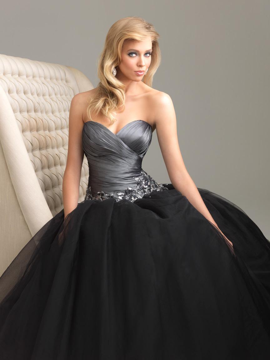 Dark Grey And Black Ball Gown Sweetheart Full Length Zipper Prom Dresses