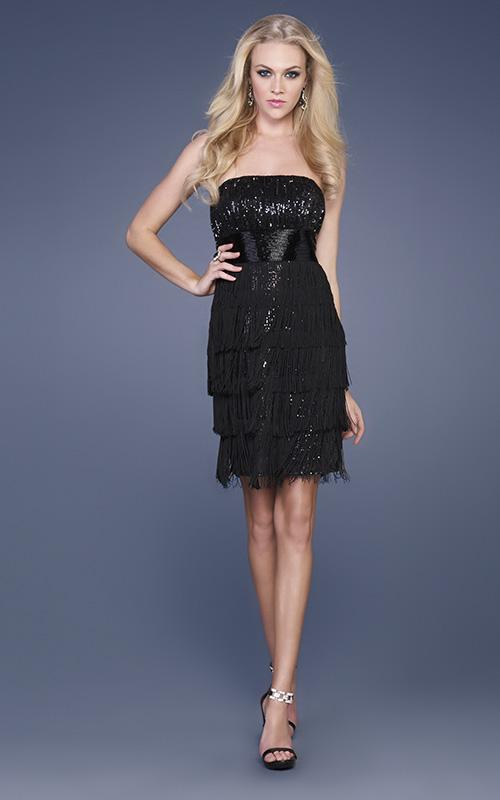 Black Column Strapless Short Mini Tiered Celebrity Dresses