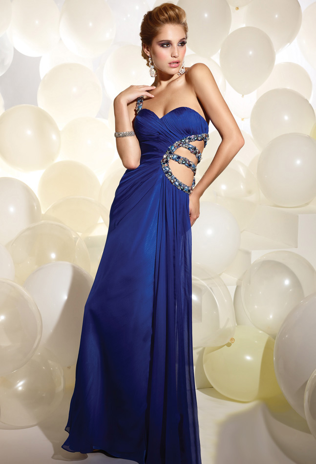 Royal Blue A Line One Shoulder Open Back Full Length Evening Dresses With Crystals And Side Hollow