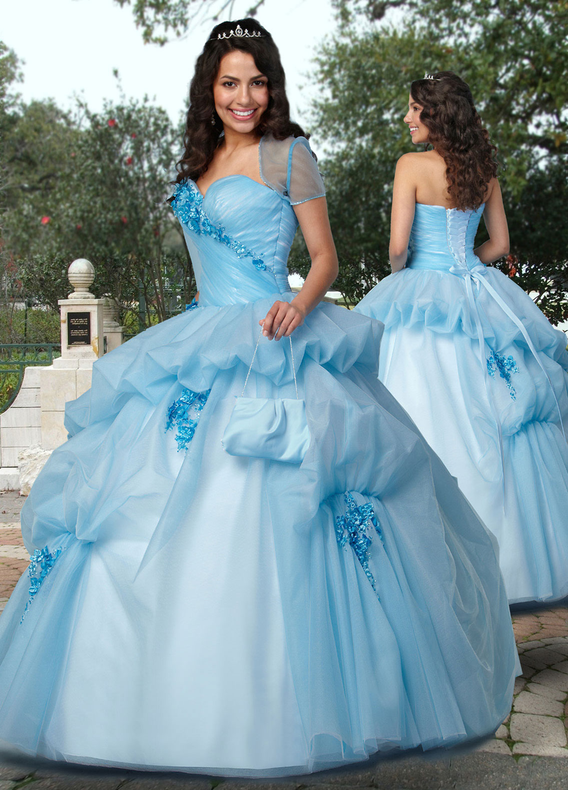 Light Blue Ball Gown Strapless Sweetheart Lace Up Ruffled