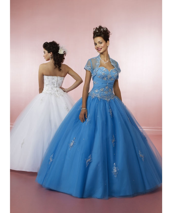 7d734c8f2d0 Blue Ball Gown Strapless Sweetheart Zipper Floor Length Embroidered  Quinceanera Dresses