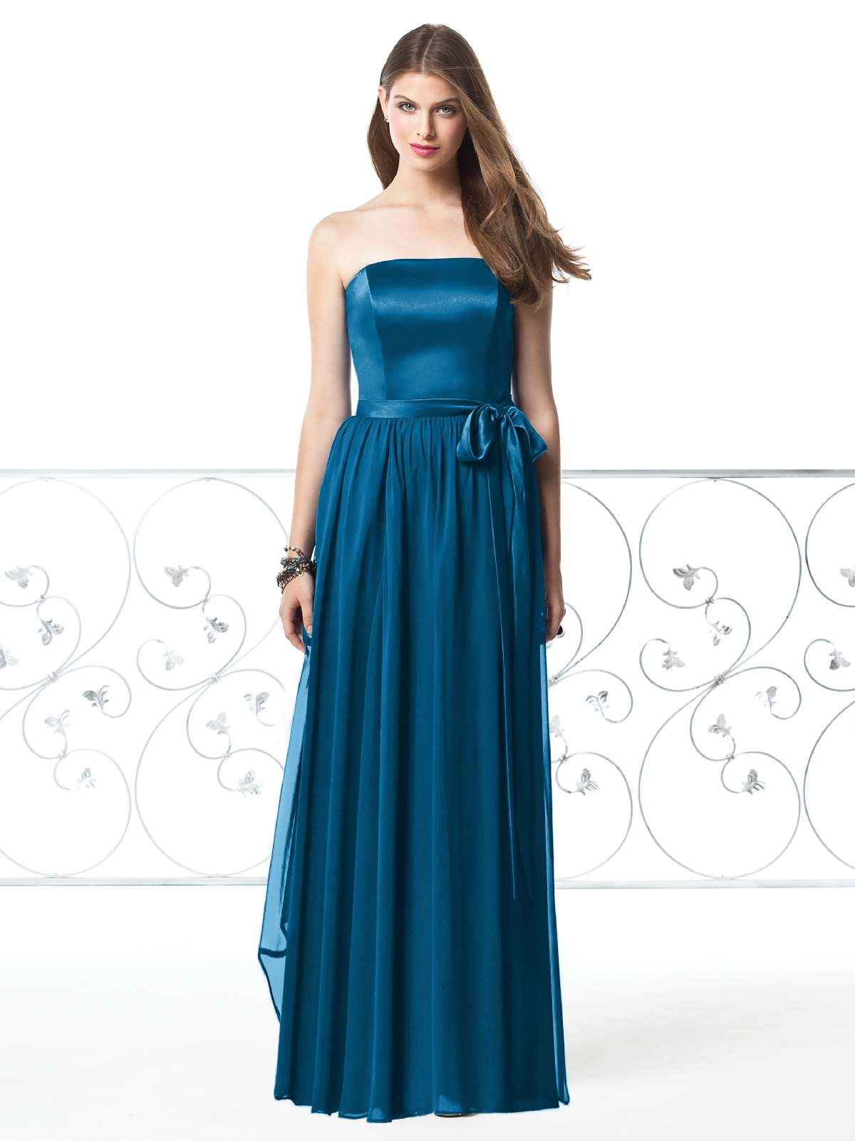 de6b5eaacf8 Top Sale Blue Column Strapless Zipper Floor Length Pleated Prom Dresses  With Sash