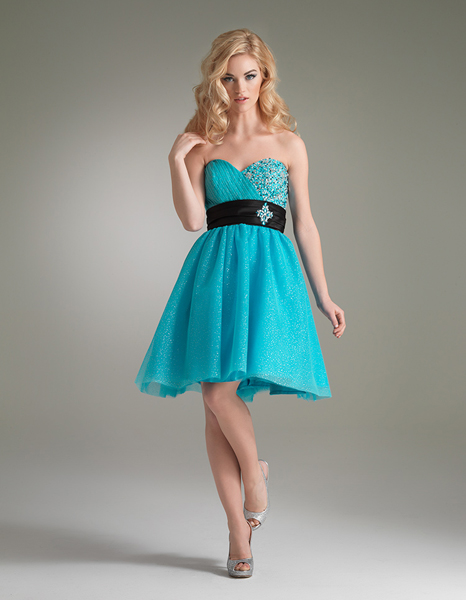 Blue A Line Strapless Sweetheart Knee Length Zipper Cocktail Dresses With Beads And Sash