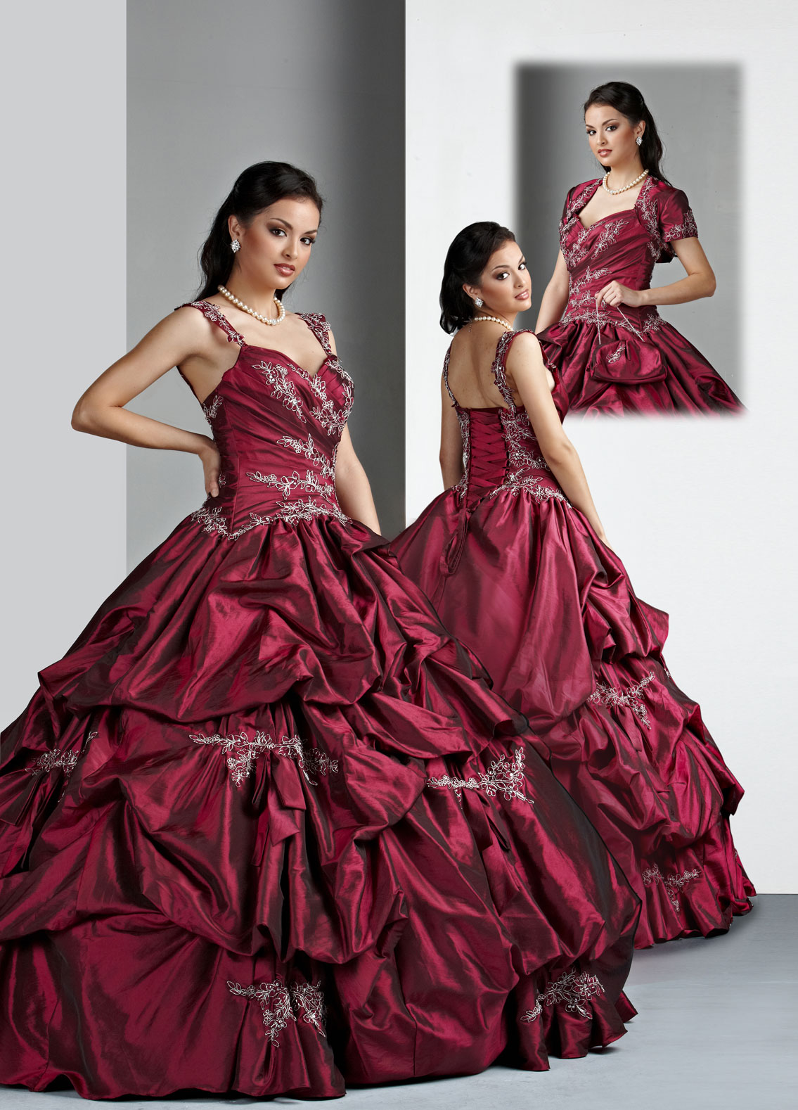Strap And Sweetheart Lace Up Floor Length Burgundy Ball Gown Quinceanera Dresses With Embroidery And Ruffles
