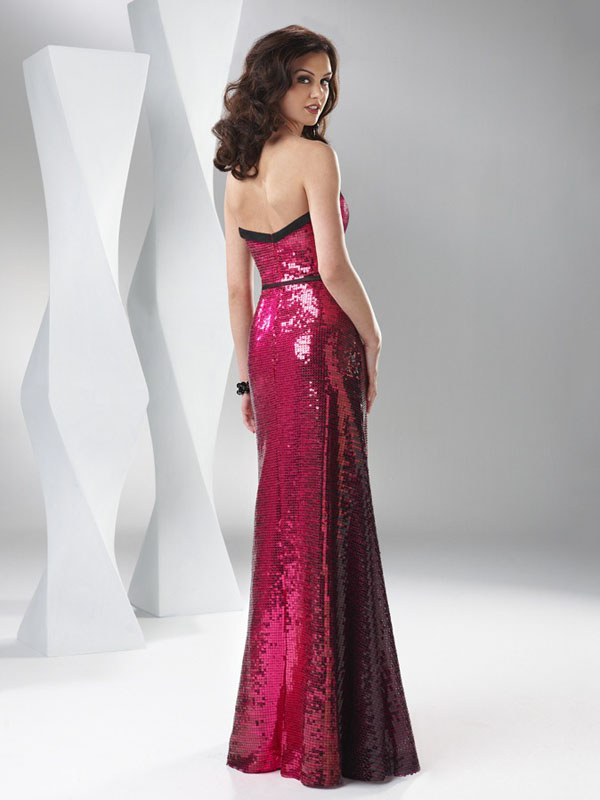 84b4e69c09de Burgundy Mermaid Strapless Floor Length Sequined Evening Dresses With Black  Sash