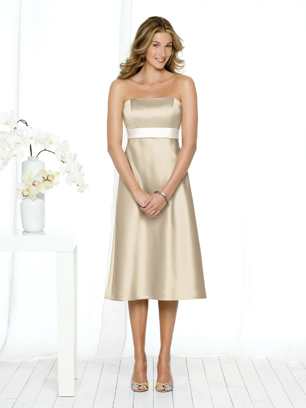 Champagne A Line Strapless Zipper Tea Length Satin Prom Dresses With White Sash